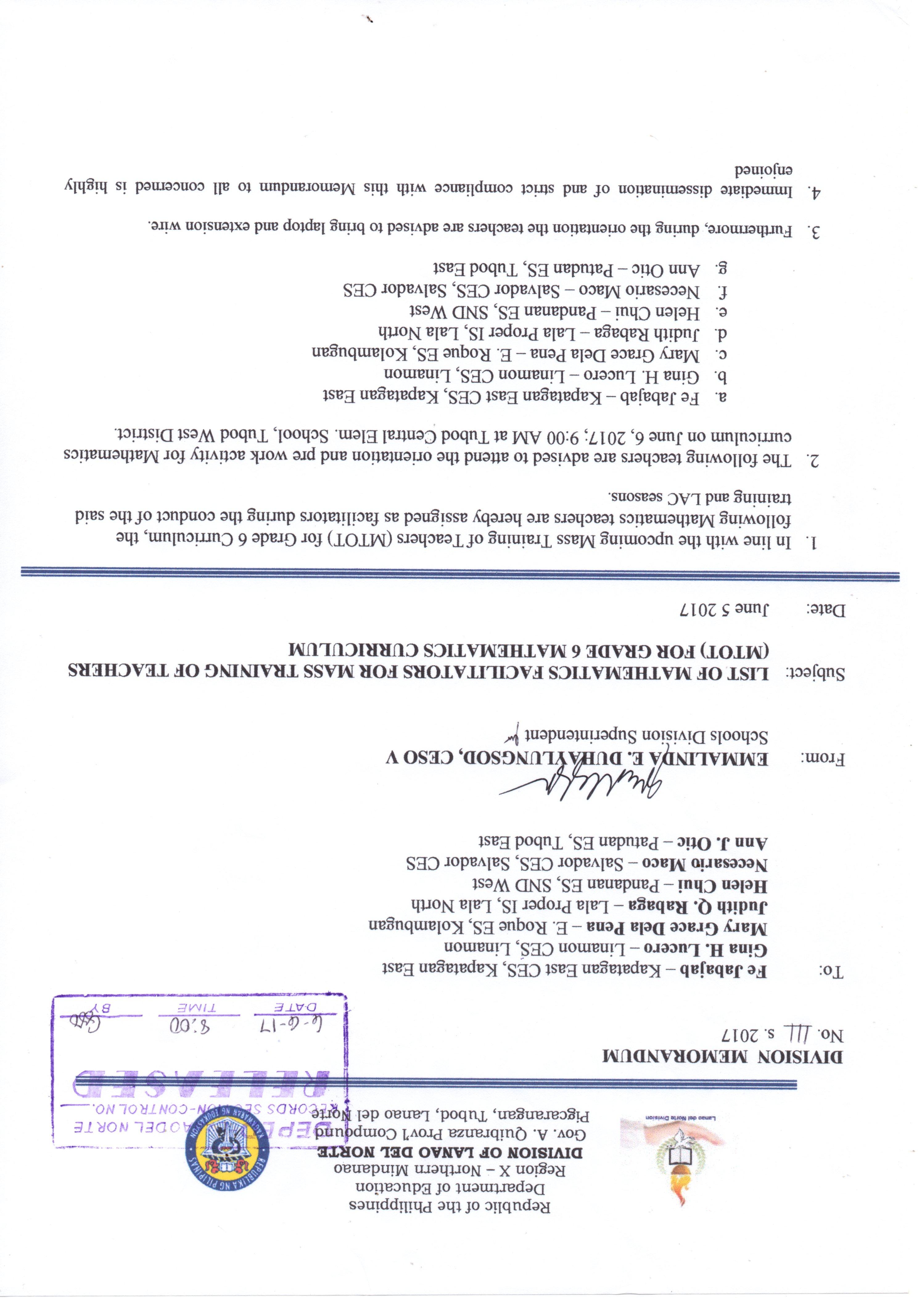 Division Memorandum | Division of Lanao del Norte